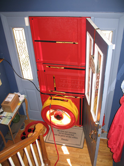 Blower door test for Vestal homes